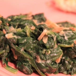 Garlicky Spinach with Laughing Cow Cheese