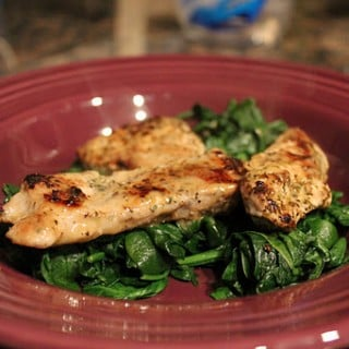 Creamy Italian Pork Medallions over Spinach