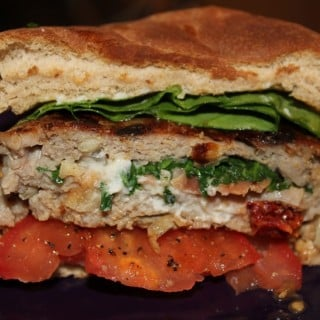 Prosciutto – Sun Dried Tomato – Spinach Stuffed Turkey Burgers