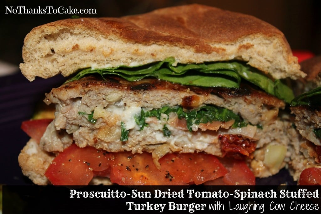Prosciutto - Sun Dried Tomato - Spinach Stuffed Turkey Burger with Laughing Cow Cheese | No Thanks to Cake