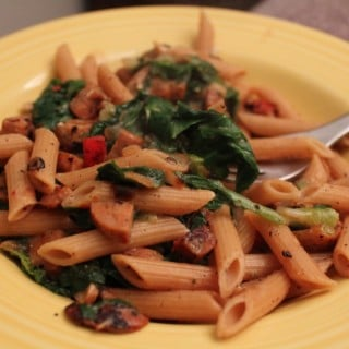 Pasta with Italian Chicken Sausage, Peppers and Escarole