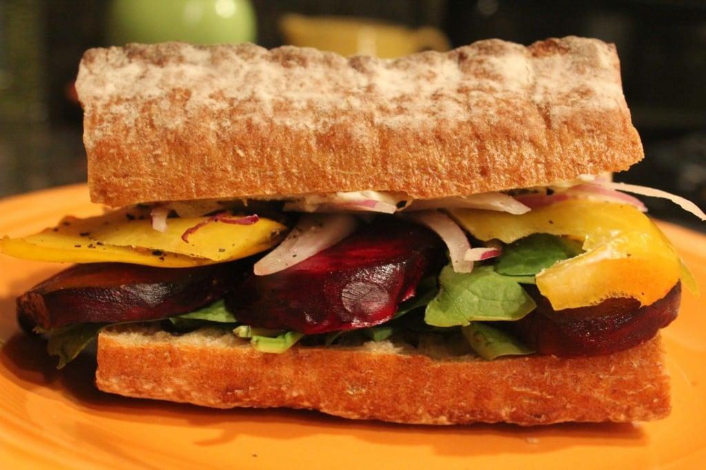 Roasted Beet Sandwich with Greek Yogurt Aioli