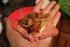 French Onion Cheese-Stuffed Turkey Burgers