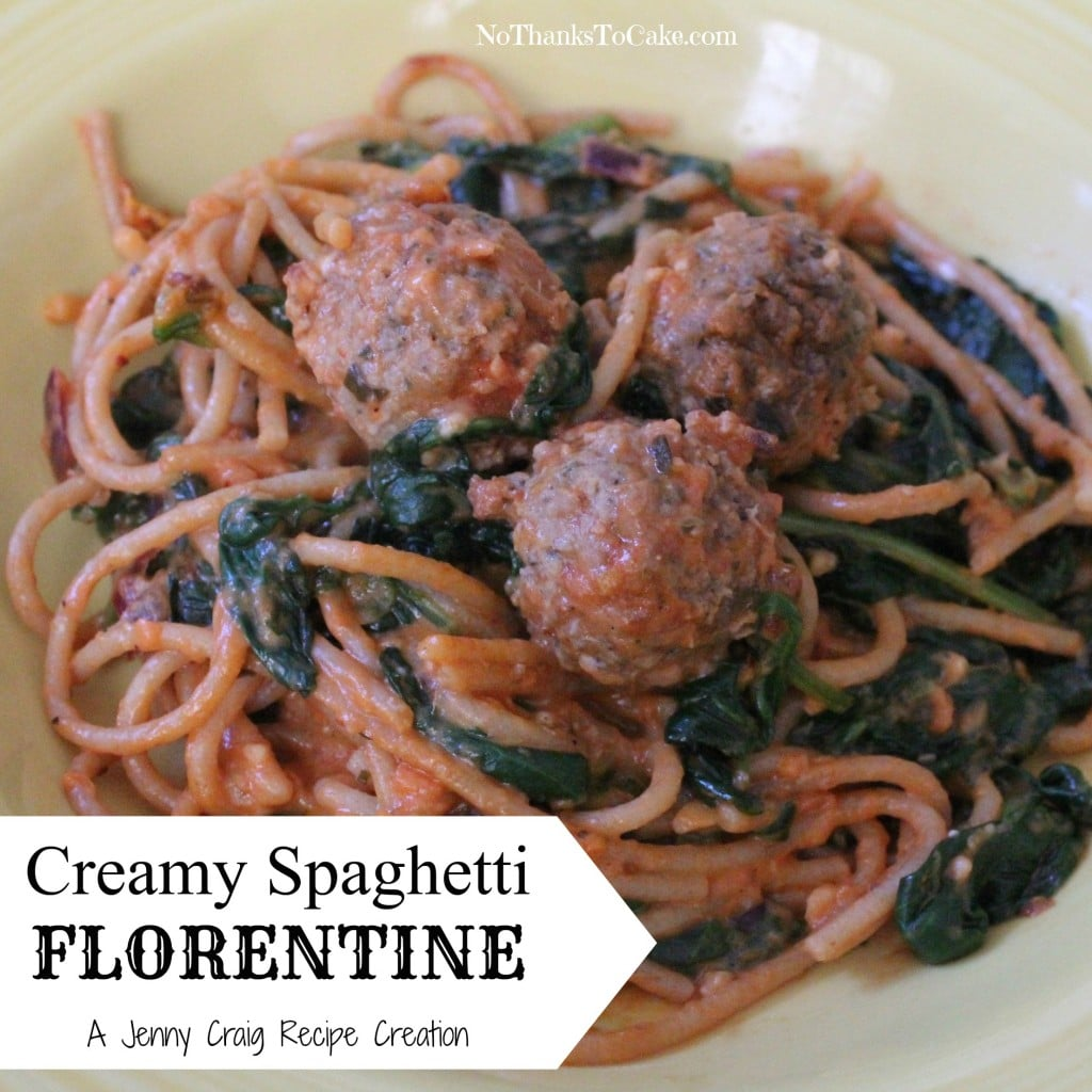 Jenny Craig Recipe Creation: Creamy Spaghetti Florentine | No Thanks to Cake