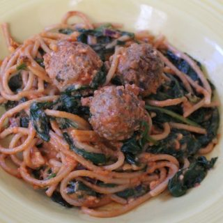 Jenny Craig Recipe Creation:  Creamy Spaghetti Florentine with Meatballs