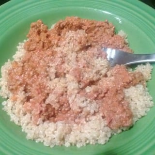 Tonight's Dinner was 1/2 cup of Skinnytaste Crockpot Bolognese and 1/2 cup of cooked quinoa - - LOVE that Bolognese
