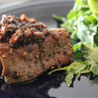 Peppercorn Crusted Filet Mignon with Red Wine-Shallot Reduction