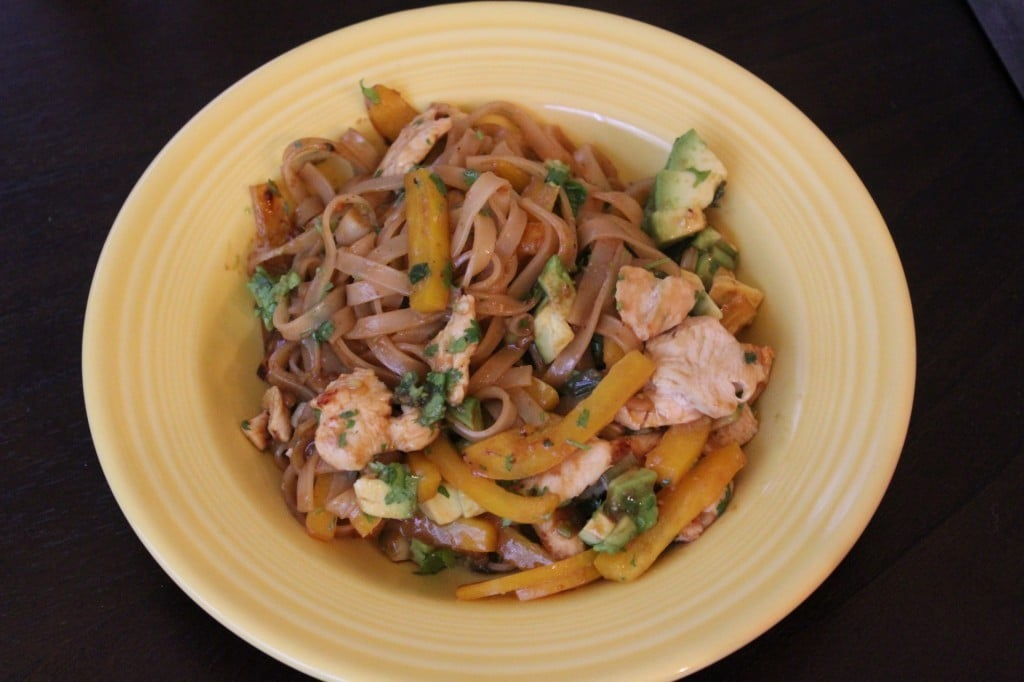 Chicken and Noodle Stir-Fry with Avocado and Cilantro | No Thanks to Cake