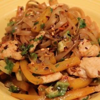 Chicken and Noodle Stir-Fry with Avocado and Cilantro