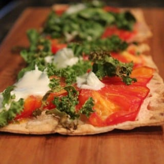 Heirloom Tomato Kale Lavash Pizza | No Thanks to Cake