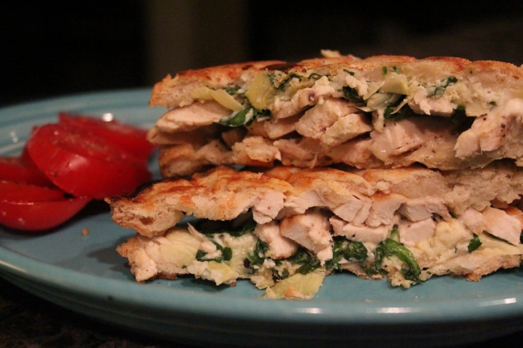 Chicken Spinach and Artichoke Paninis | No Thanks to Cake
