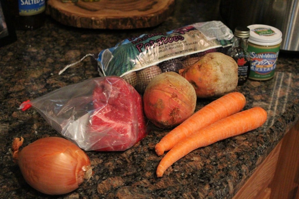 Slow Cooker Maple-Mustard Pot Roast with Winter Root Vegetables | No Thanks to Cake