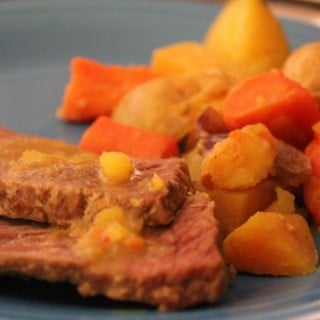 Slow Cooker Maple-Mustard Pot Roast with Winter Root Vegetables