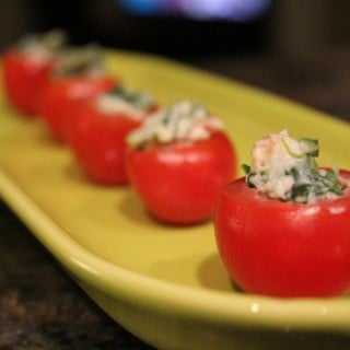 BLT Stuffed Cherry Tomatoes with Laughing Cow Cheese