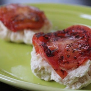 Grilled Tomato Biscuits with Laughing Cow Cheese