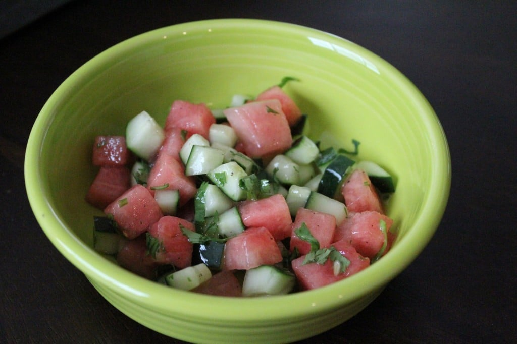 Watermelon Cucumber Salad with Honey Lime Vinaigrette | No Thanks to Cake