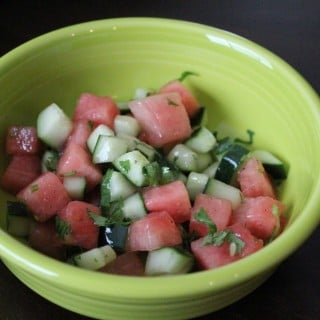 Watermelon Cucumber Salad with Honey Lime Vinaigrette