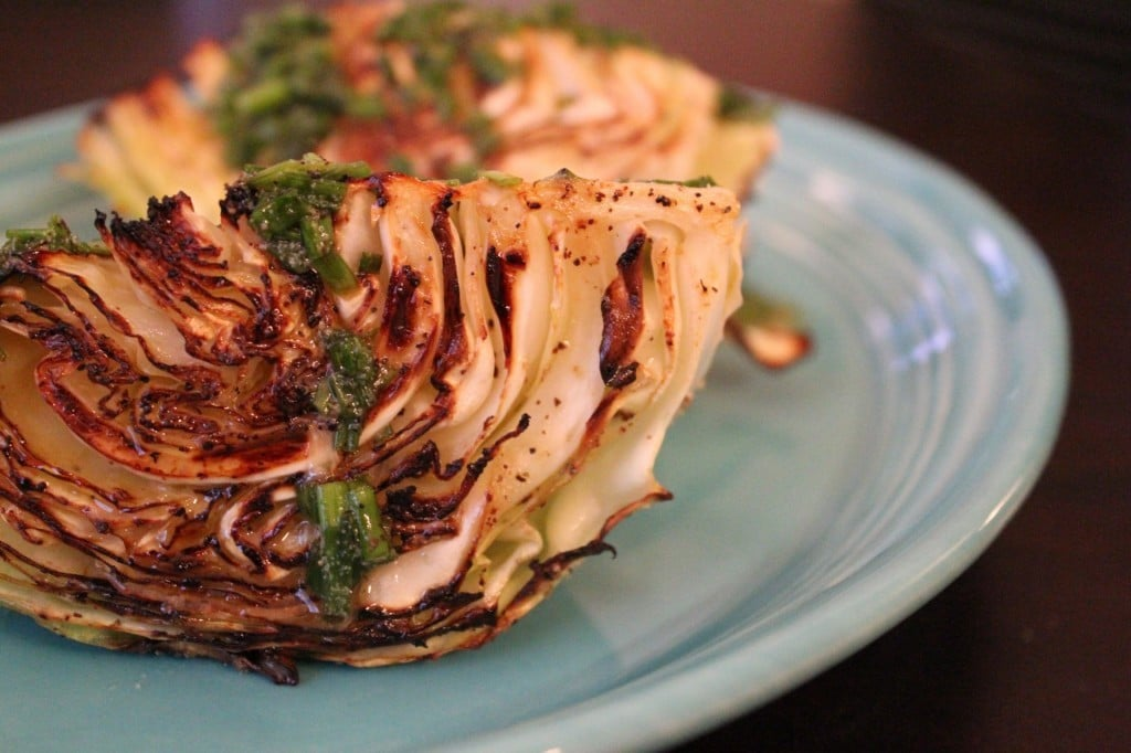 Roasted Cabbage with Chive-Mustard Vinaigrette | No Thanks to Cake