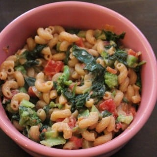 Lightened Up Spinach Queso Mac and Cheese