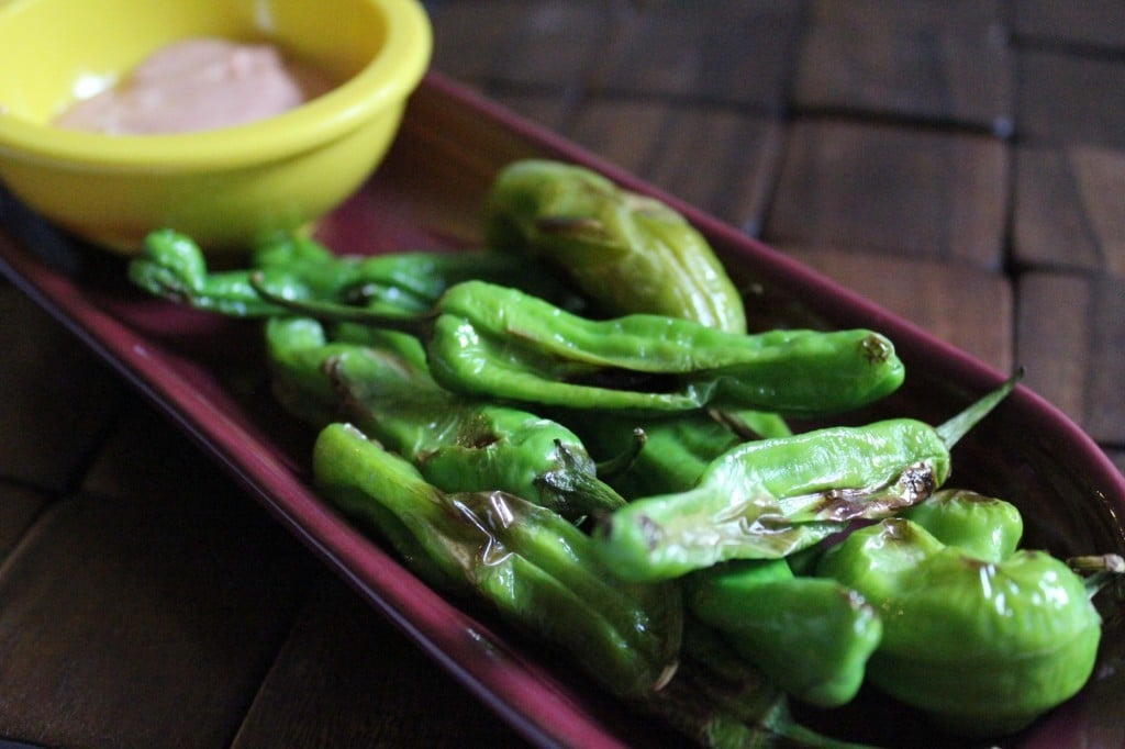 Pan-Seared Shishito Peppers with Yogurt-Sriracha Dipping Sauce | No Thanks to Cake