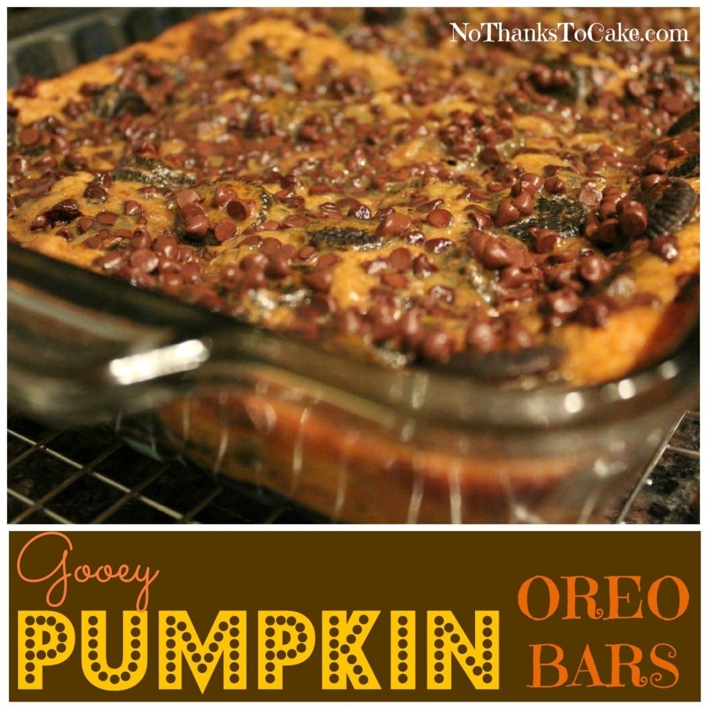 Gooey Pumpkin Oreo Bars | No Thanks to Cake