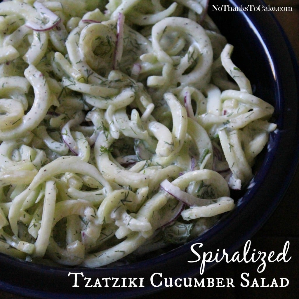 Spiralized Tzatziki Cucumber Salad | No Thanks to Cake