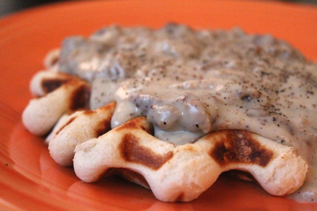 Lightened Up Waffled Biscuits and Gravy | No Thanks to Cake
