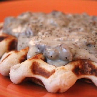 Lightened Up Waffled Biscuits and Gravy