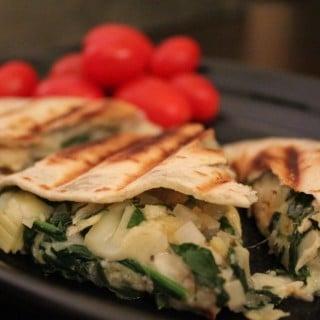 Jenny Craig Recipe Creation:  Spinach and Artichoke Chicken Quesadilla