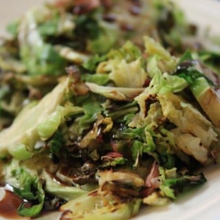 Shredded Balsamic Brussels Sprouts with Prosciutto