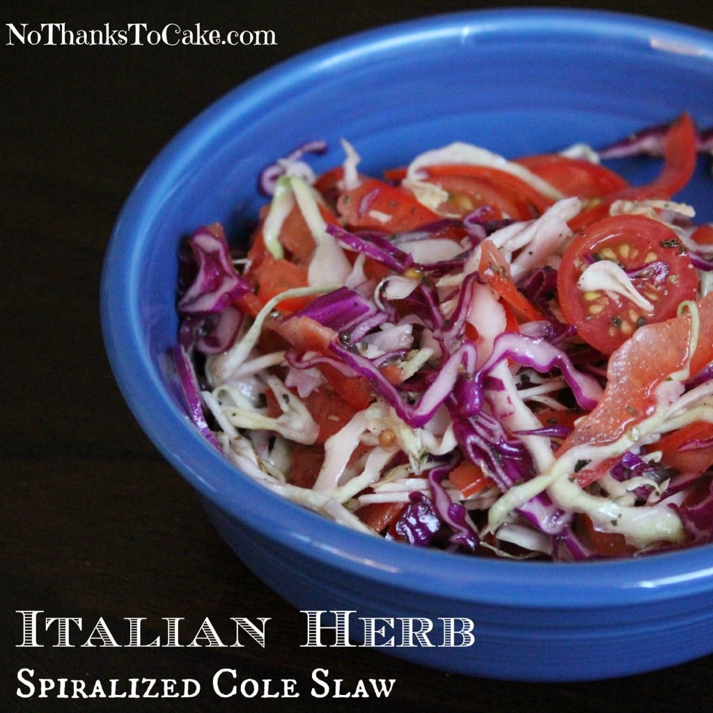 Italian Herb Spiralized Cole Slaw | No Thanks to Cake