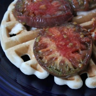 Cheesy Grilled Heirloom Tomato Waffle