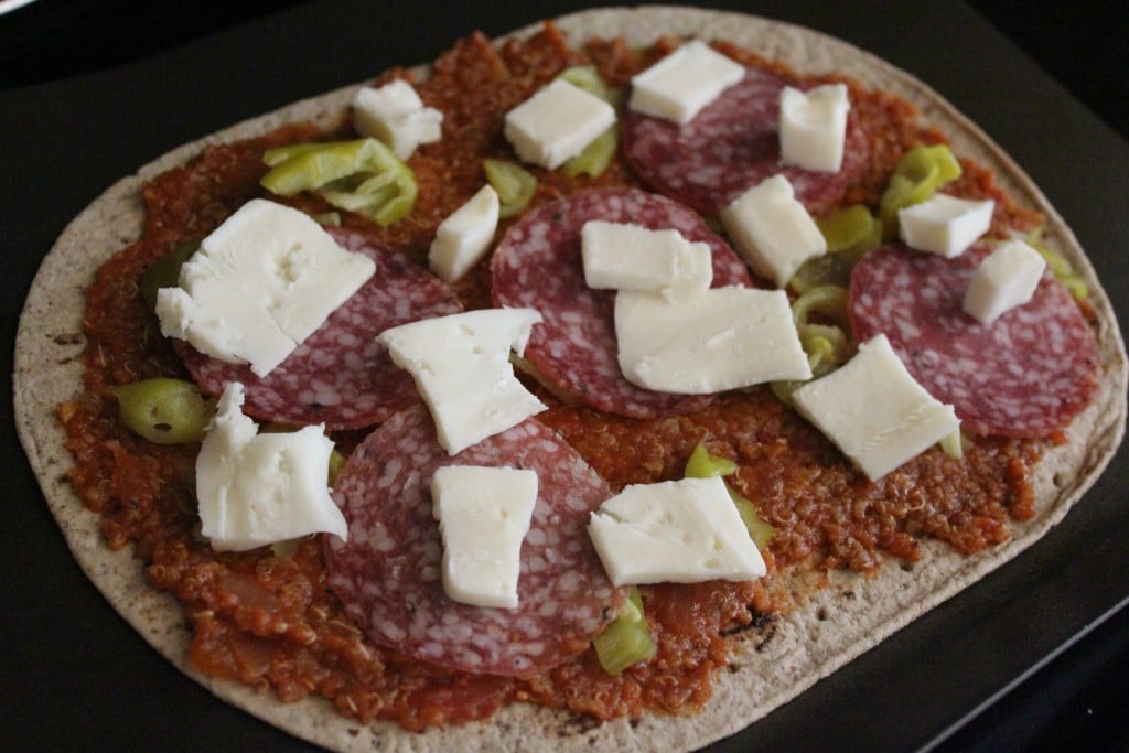 Flatout Salami and Pepperoncini Pizza | No Thanks to Cake