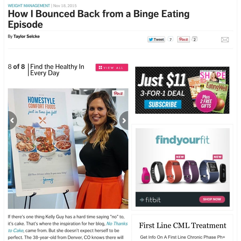Shape Magazine Binge Eating Article | No Thanks to Cake