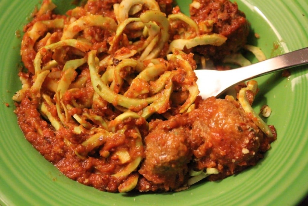 Spiralized Broccoli with Meatballs | No Thanks to Cake