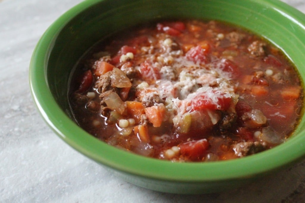 Slow Cooker Beef, Tomato, and Acini de Pepe Soup