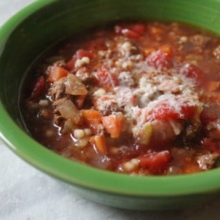 Slow Cooker Beef, Tomato, and Acini de Pepe Soup