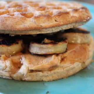Jenny Craig Recipe Creation:  Caramelized Banana-PB2 Waffle Sandwich