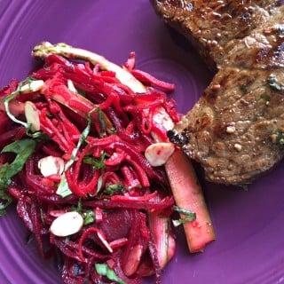 Spiralized Beet and Sweet Potato Salad with Lemon Vinaigrette