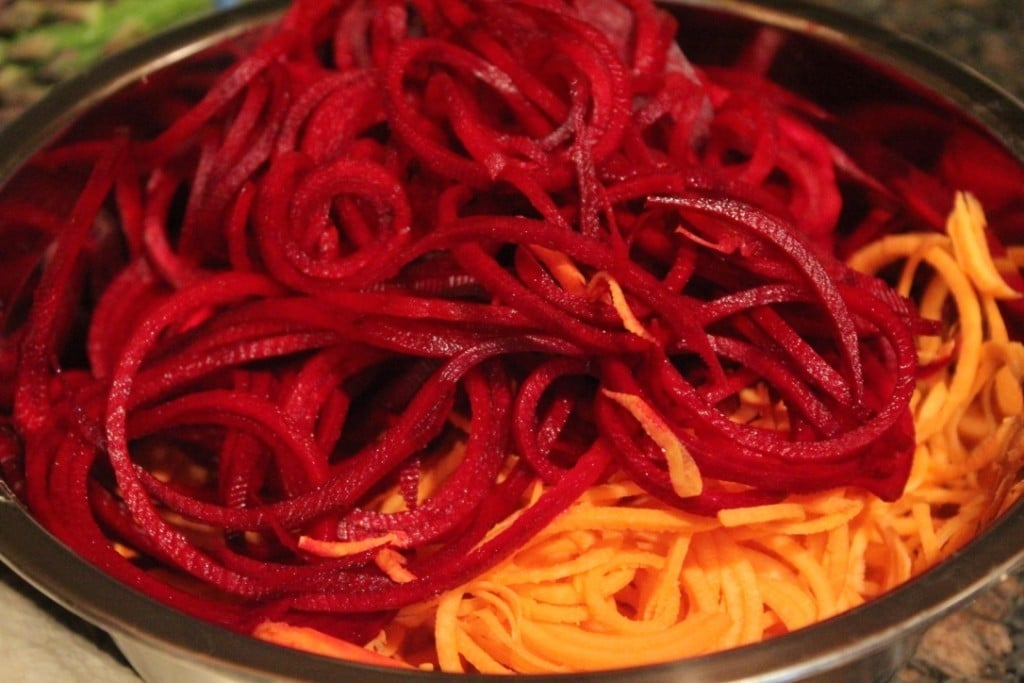 Spiralized Beet and Sweet Potato Salad with Lemon Vinaigrette | No Thanks to Cake