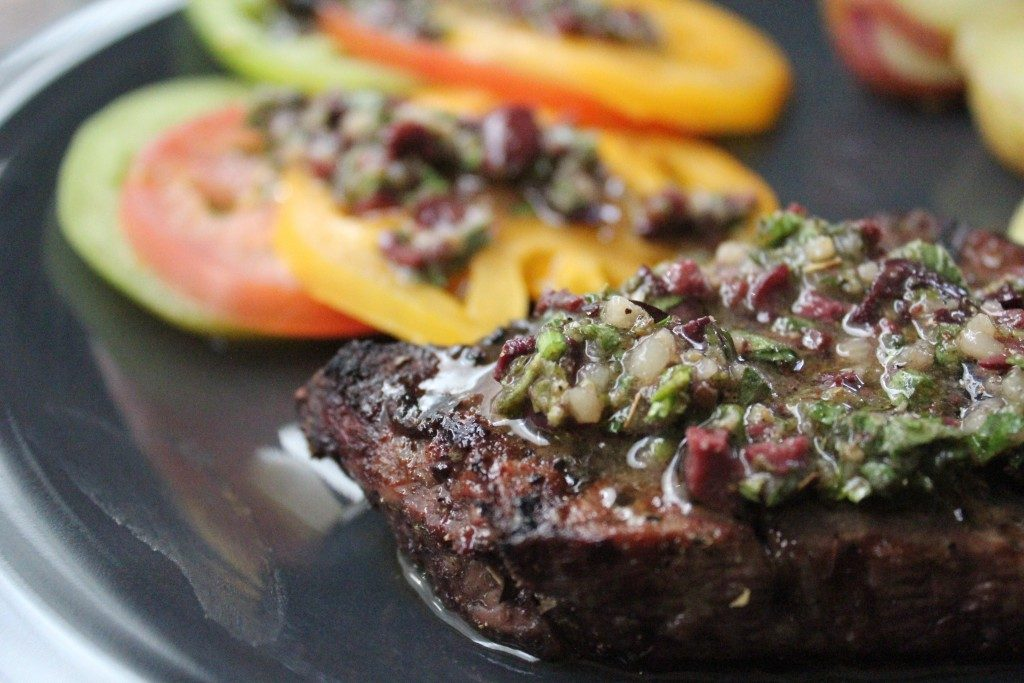 Greek-Style Filet Mignon with Olive Vinaigrette | No Thanks to Cake