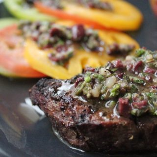 Greek-Style Filet Mignon with Olive Vinaigrette