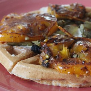 Savory Waffle with Grilled Tomatoes and Roasted Chiles