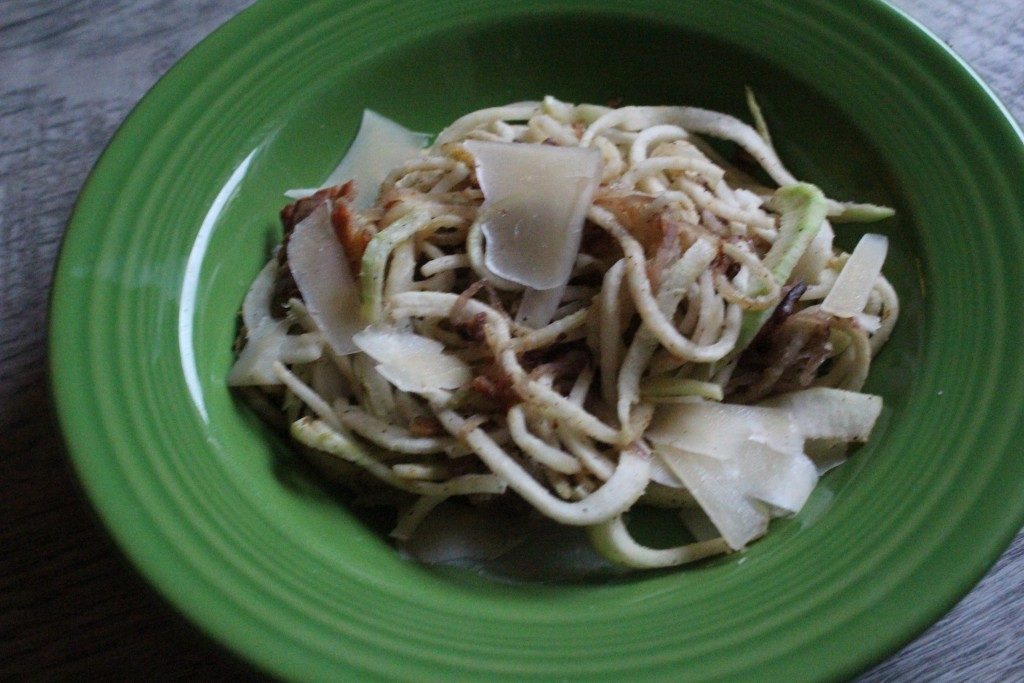 Kohlrabi Spaghetti with Caramelized Onions, Bacon, and Shaved Parmesan | No Thanks to Cake