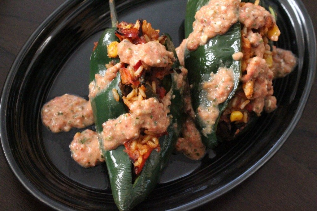 Jenny Craig Queso-Topped Stuffed Poblano Peppers | No Thanks to Cake