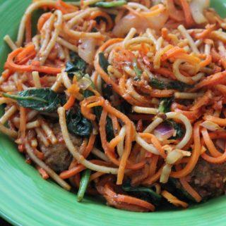 Jenny Craig Recipe Creation:  Spaghetti and Meatballs with All the Veggies