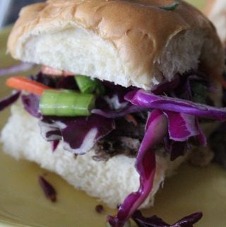 Pot Roast Sliders with Pepperoncini-Cabbage Slaw