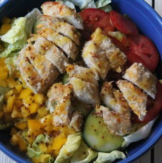 Coconut Chicken Salad with Warm Honey Mustard Vinaigrette